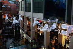 Voo do trenó e da rena no Natal Fotos de Stock Royalty Free