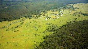 Voo do zangão ao longo da paisagem rural europeia Tiro aéreo da natureza bonita, da floresta, do campo verde do prado e do rio 4K filme