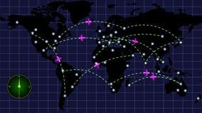 Voo dos aviões no mapa video estoque