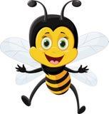 Voo dos desenhos animados da abelha isolado no fundo branco Imagem de Stock