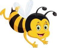 Voo dos desenhos animados da abelha isolado no fundo branco Fotografia de Stock