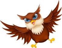 Voo dos desenhos animados da coruja ilustração do vetor