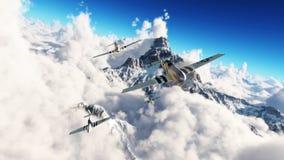 Voo dos mustang Mustang P51 que retornam em casa de uma missão altamente acima das nuvens Imagem de Stock