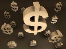 Voo dos sinais de dólar ilustração do vetor