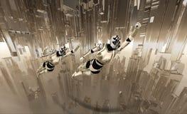 Voo dos soldados do Cyborg Imagens de Stock
