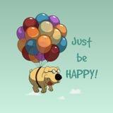 Voo engraçado do cão dos desenhos animados com balões Fotos de Stock Royalty Free