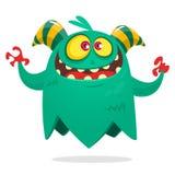 Voo engraçado do monstro dos desenhos animados O personagem de banda desenhada fresco para crianças party a cópia da decoração ou Ilustração Royalty Free
