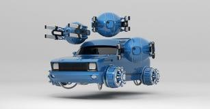 Voo fantástico do carro com rendição dos zangões 3d ilustração do vetor