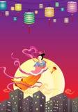 Voo feericamente chinês à ilustração da lua Imagens de Stock