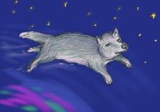 Voo feericamente do lobo sobre a aurora boreal no espaço Ilustração para o livro de crianças, cartões metafóricos, horóscopo orie ilustração royalty free