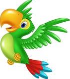 Voo feliz do papagaio dos desenhos animados Imagens de Stock