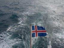 Voo islandês da bandeira orgulhoso imagem de stock royalty free