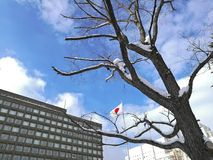 Voo japonês da bandeira nacional com o azul cinzento da construção e do inverno Imagem de Stock Royalty Free