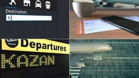 Voo a Kazan Viagem à animação conceptual da montagem de Rússia vídeos de arquivo