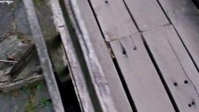 Voo lento sobre a ponte 16 do rio e do Taramundi video estoque