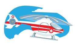 Voo médico do helicóptero no céu Ilustração do Vetor