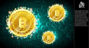 Voo mordido dourado das moedas em claro - fundo horizontal azul com código binário ilustração do vetor