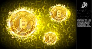Voo mordido dourado das moedas no fundo abstrato horizontal amarelo com código binário ilustração do vetor