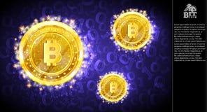Voo mordido dourado das moedas no fundo horizontal violeta com código binário ilustração do vetor