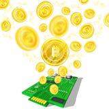 Voo mordido dourado das moedas para fora com da micro microplaqueta no branco ilustração do vetor