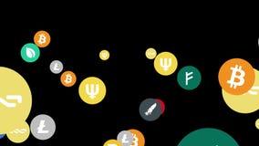 Voo no fundo preto econômico do cryptocurrency do espaço ilustração royalty free