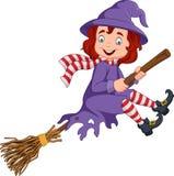 Voo novo da bruxa dos desenhos animados em uma vassoura ilustração stock