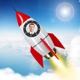 Voo novo do homem de negócios no céu no foguete tirado Imagens de Stock Royalty Free