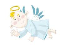 Voo pequeno do anjo no céu azul Fotos de Stock