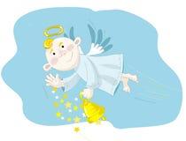 Voo pequeno do anjo no céu azul Imagem de Stock