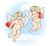 Voo pequeno do cupido dois com hearts17 Foto de Stock