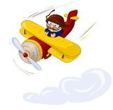 Voo piloto pelo plano no céu Foto de Stock Royalty Free
