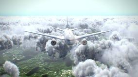 Voo plano acima das nuvens ilustração stock