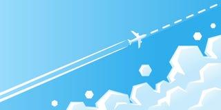 Voo plano branco com a fuga no céu azul com ilustração do vetor das nuvens O avião está voando no céu na rota ilustração do vetor