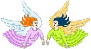 Voo retro dos anjos isolado ilustração royalty free
