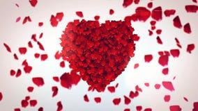 Voo Rose Petals Making Heart Imagens de Stock