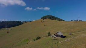 Voo sobre a casa dos pastores nos Carpathians vídeos de arquivo