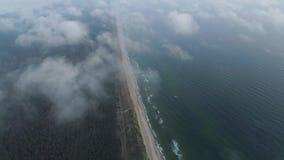 Voo sobre nuvens no litoral video estoque
