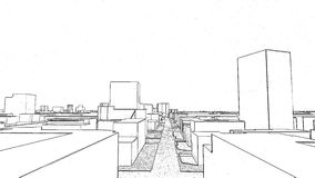 Voo sobre o desenho 3D da cidade vídeos de arquivo