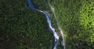 Voo sobre o desfiladeiro da montanha A estrada ao longo do rio, nas madeiras filme