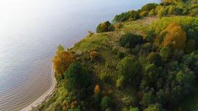 Voo sobre o lago e a floresta no outono vídeos de arquivo