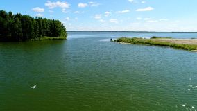 Voo sobre o lago no tempo nebuloso video estoque