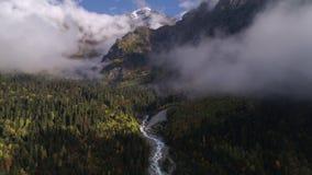 Voo sobre o rio e a floresta em nuvens do vale da montanha em Geórgia filme