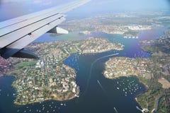 Voo sobre Sydney Australia Imagens de Stock