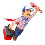voo super do encanador 3D com a chave da caixa de ferramentas e de tubulação Imagem de Stock Royalty Free
