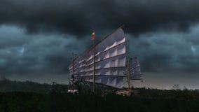 Voo velho do navio com nuvens de cúmulo ilustração do vetor