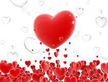 Voo vermelho dos corações Foto de Stock