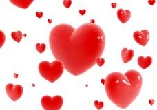 Voo vermelho dos corações Imagens de Stock