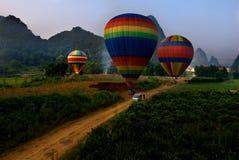 Voo VI do balão de Yangshuo Imagens de Stock