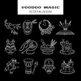 Voodoo African and American magic vector line icons. Royalty Free Stock Photography