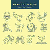 Voodoo African and American magic vector line icons. Stock Photography